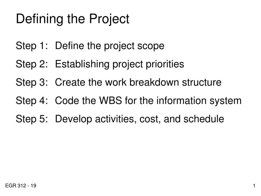 defining the project l.