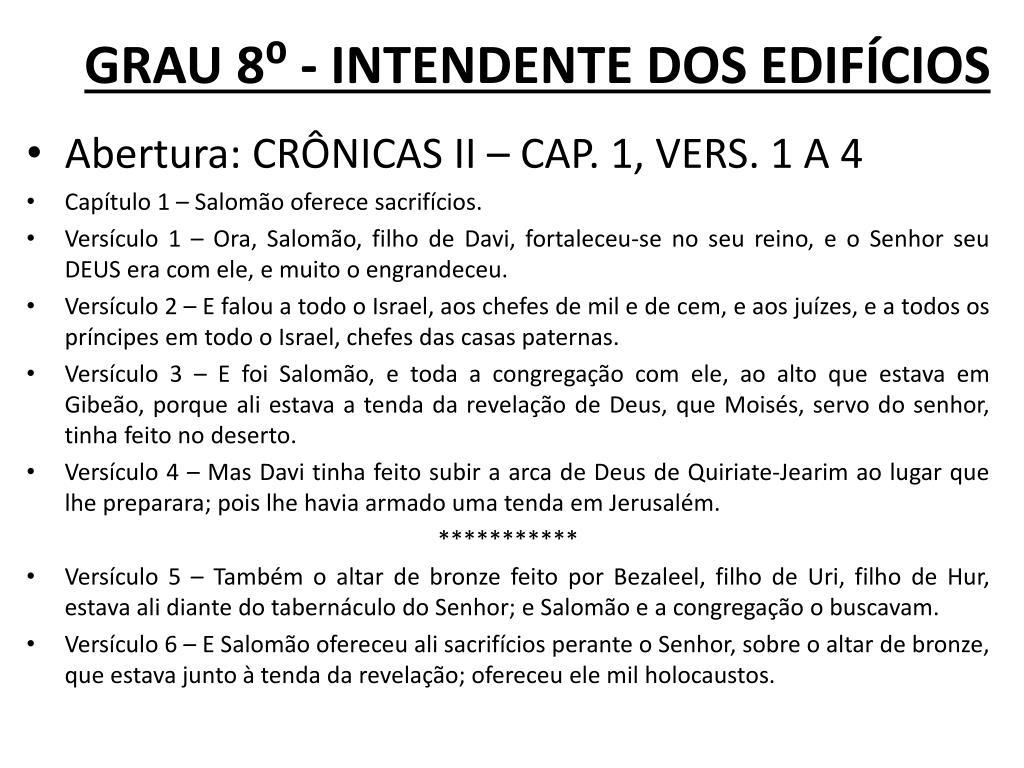 GRAU 8⁰ - INTENDENTE DOS EDIFÍCIOS