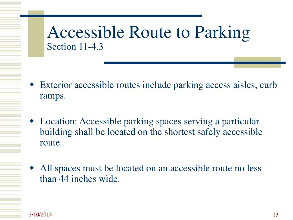 Accessible Route to Parking