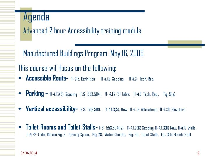 Agenda advanced 2 hour accessibility training module manufactured buildings program may 16 2006