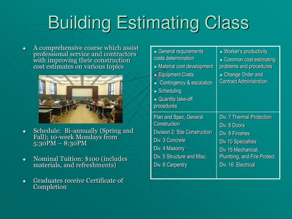 Building Estimating Class
