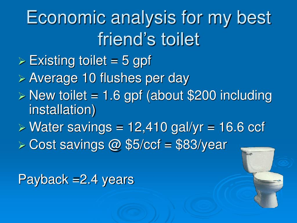 Economic analysis for my best friend's toilet