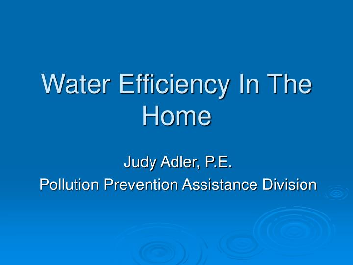 Water efficiency in the home