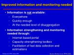 improved information and monitoring needed