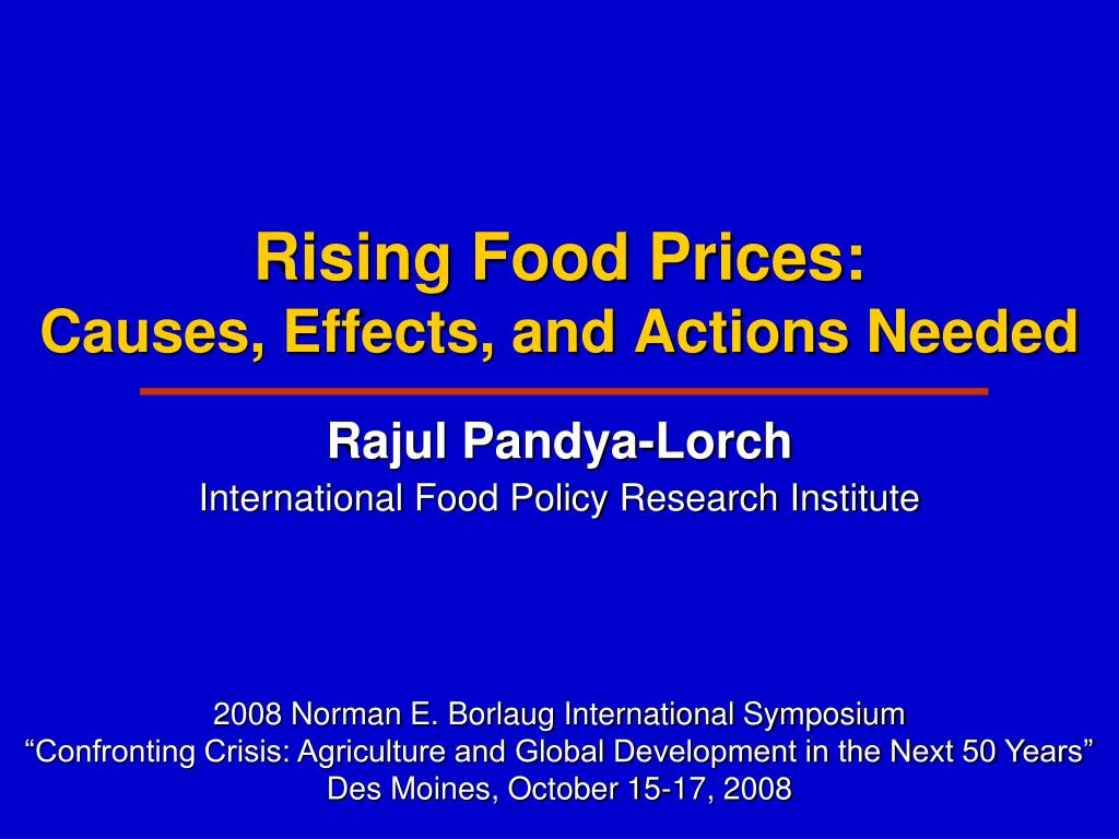 rising food prices causes effects and actions needed l.