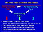 the food crisis tradeoffs and effects