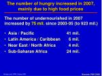the number of hungry increased in 2007 mainly due to high food prices