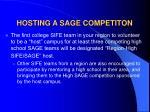 hosting a sage competiton
