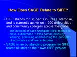 how does sage relate to sife