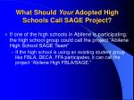 what should your adopted high schools call sage project