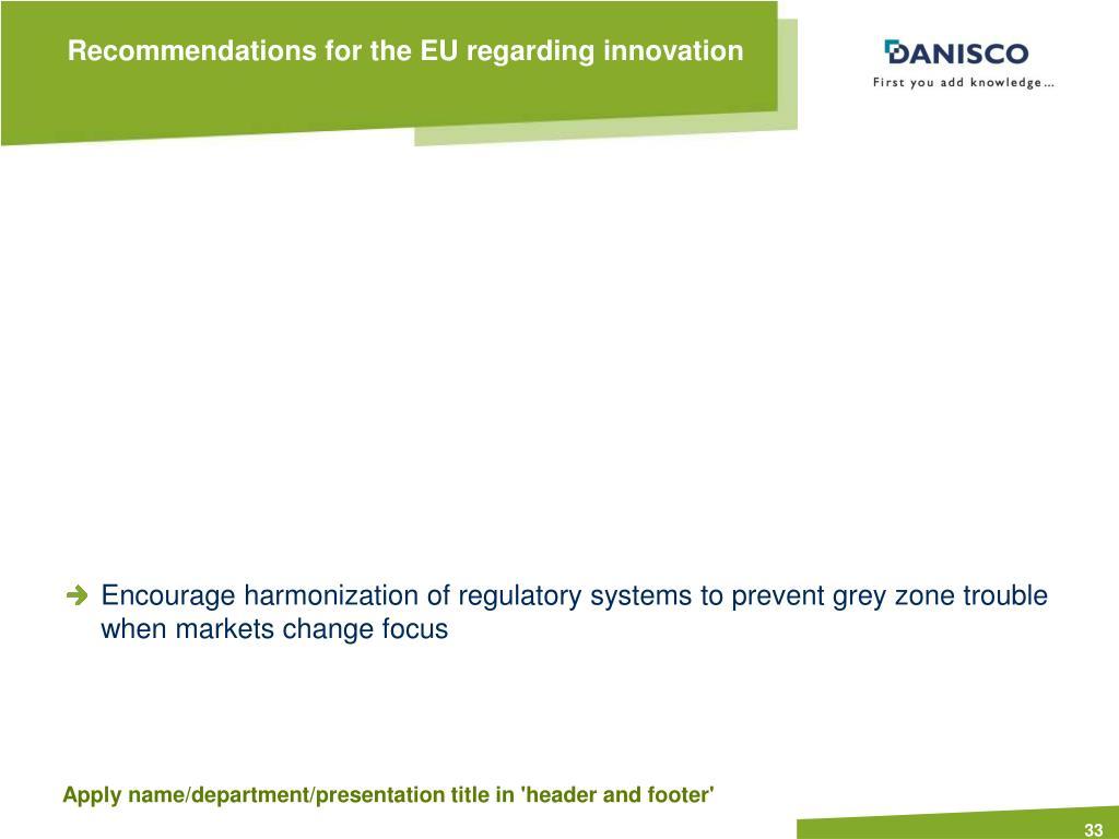 Recommendations for the EU regarding innovation