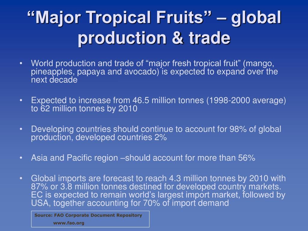 """Major Tropical Fruits"" – global production & trade"
