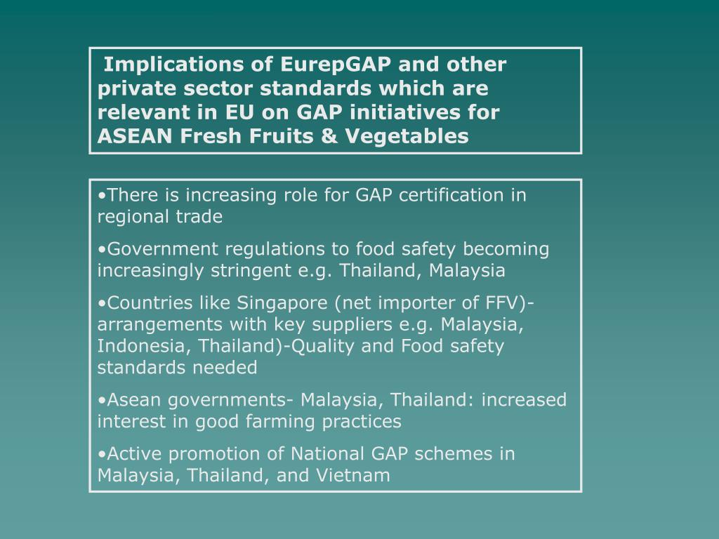 Implications of EurepGAP and other private sector standards which are relevant in EU on GAP initiatives for ASEAN Fresh Fruits & Vegetables