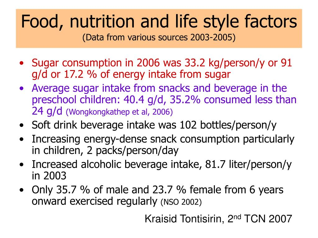 Food, nutrition and life style factors