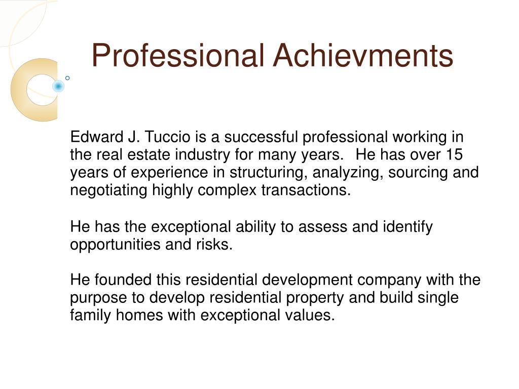 Professional Achievments