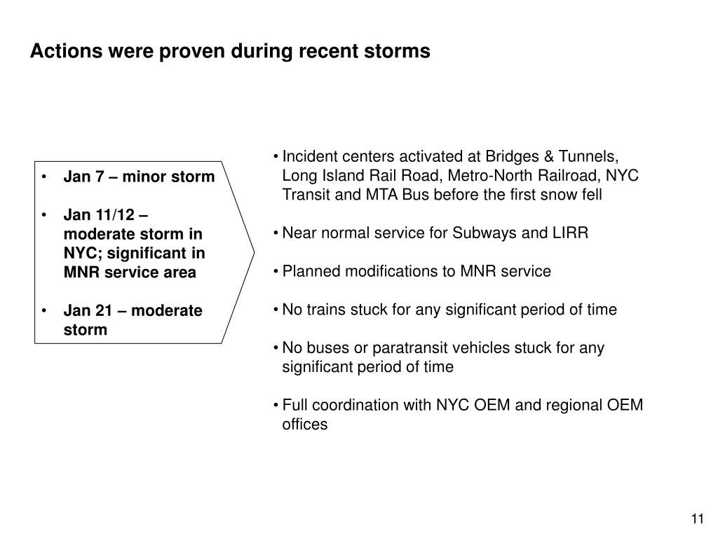 Actions were proven during recent storms