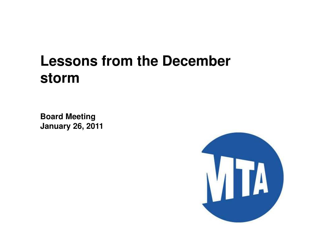 Lessons from the December storm