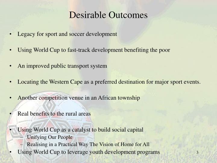 Desirable outcomes