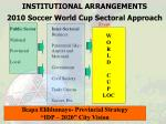institutional arrangements 2010 soccer world cup sectoral approach