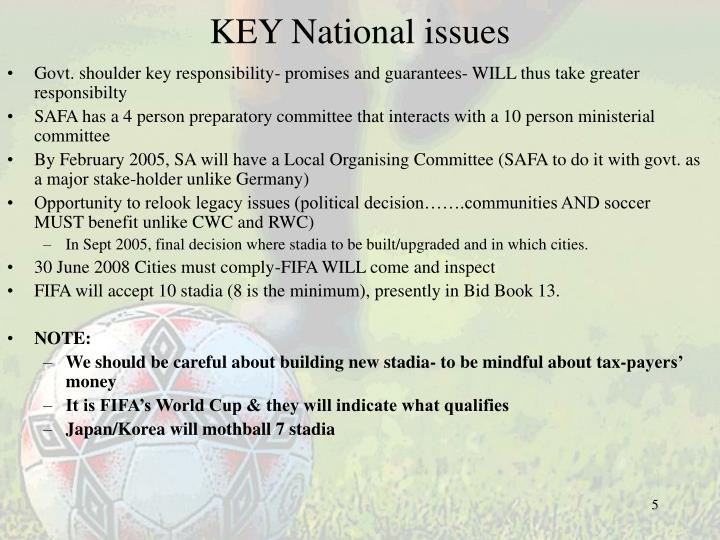 KEY National issues