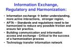 information exchange regulatory and harmonization
