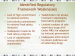 identified regulatory framework weaknesses