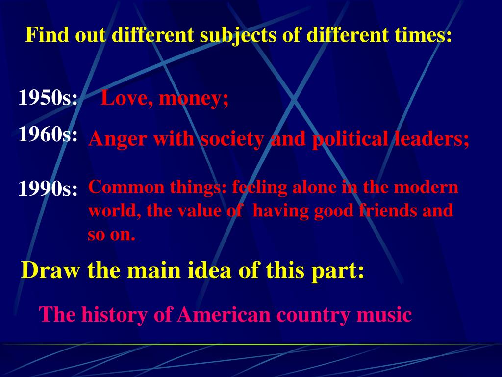 Find out different subjects of different times: