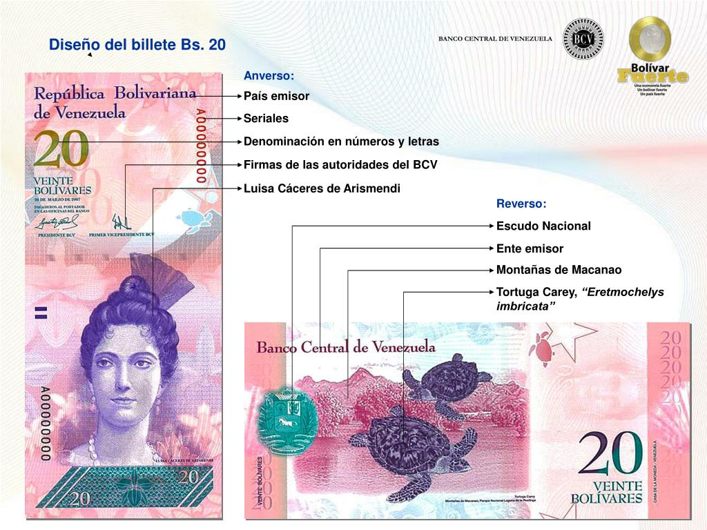 Diseño del billete Bs. 20