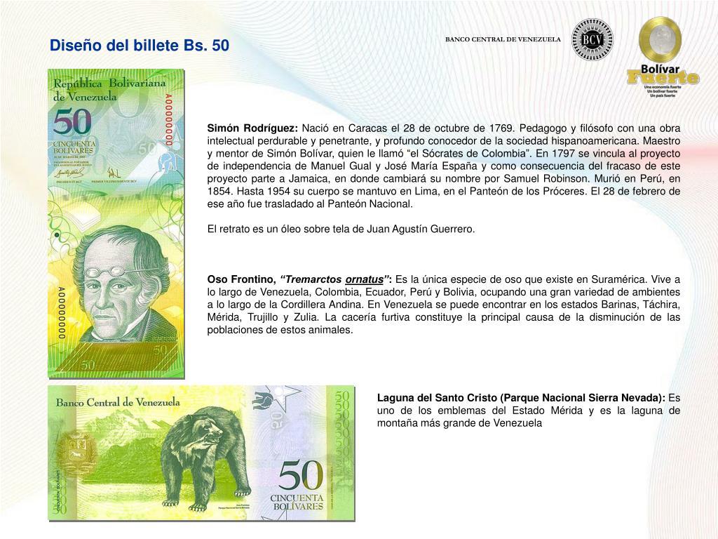 Diseño del billete Bs. 50