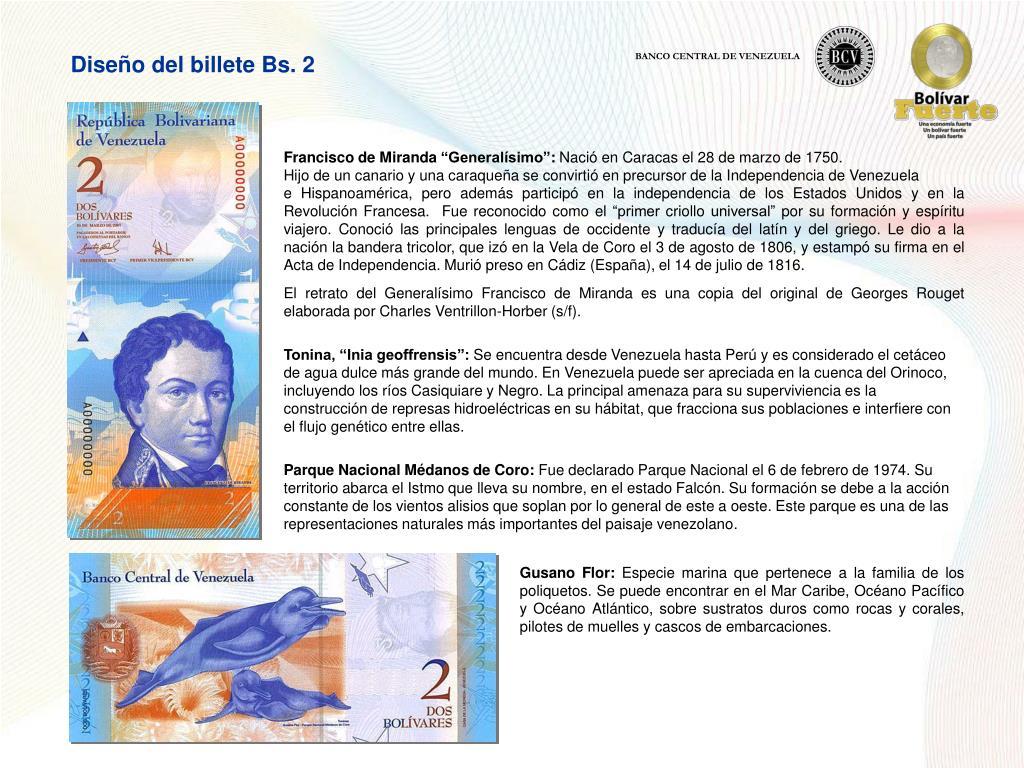 Diseño del billete Bs. 2