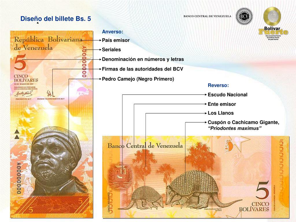 Diseño del billete Bs. 5