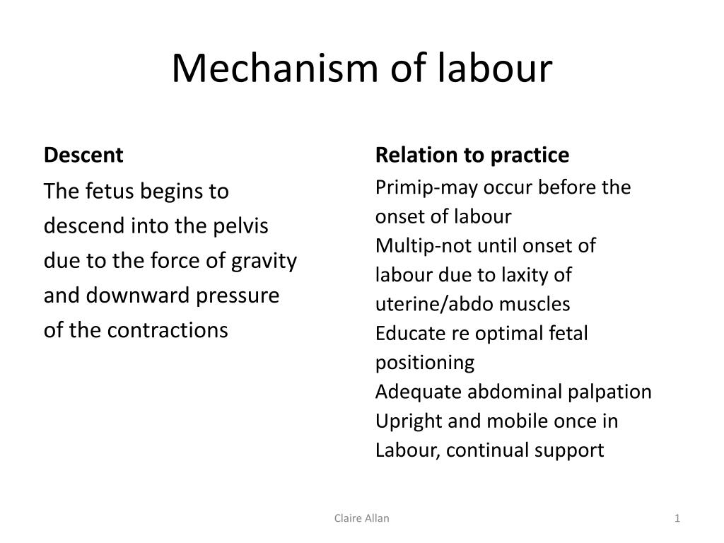 mechanism of labor Mechanism of labour descent relation to practice the fetus begins to descend into the pelvis due to the force of gravity and downward pressure of the contractions.
