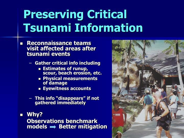 Preserving Critical Tsunami Information
