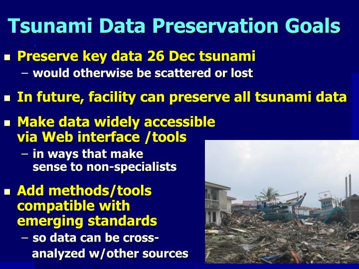 Tsunami Data Preservation Goals