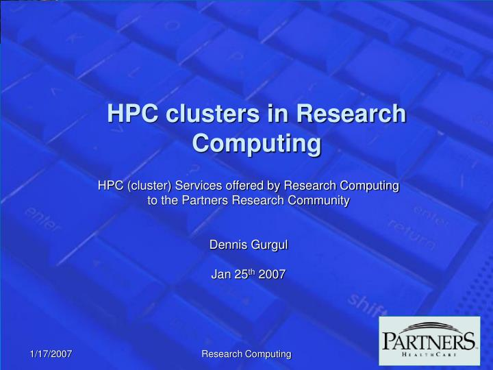 hpc clusters in research computing n.
