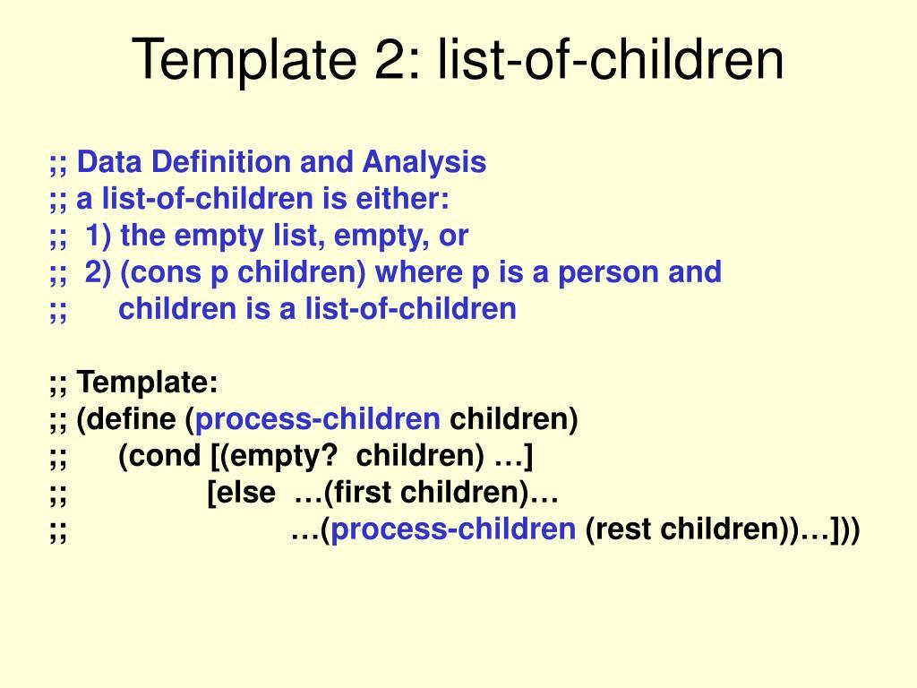 Template 2: list-of-children