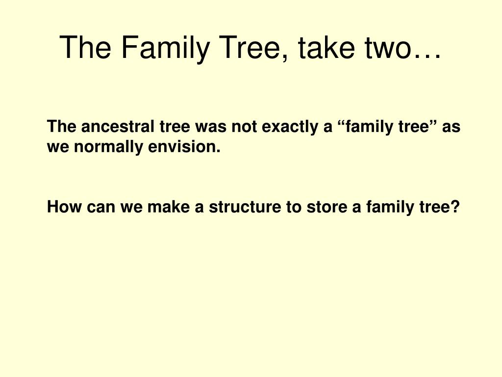 The Family Tree, take two…