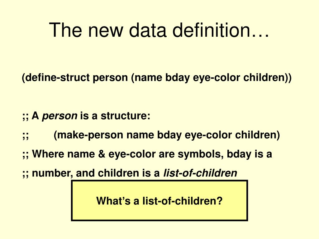 The new data definition…