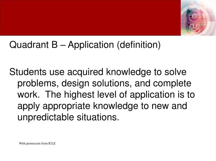 Quadrant B – Application (definition)