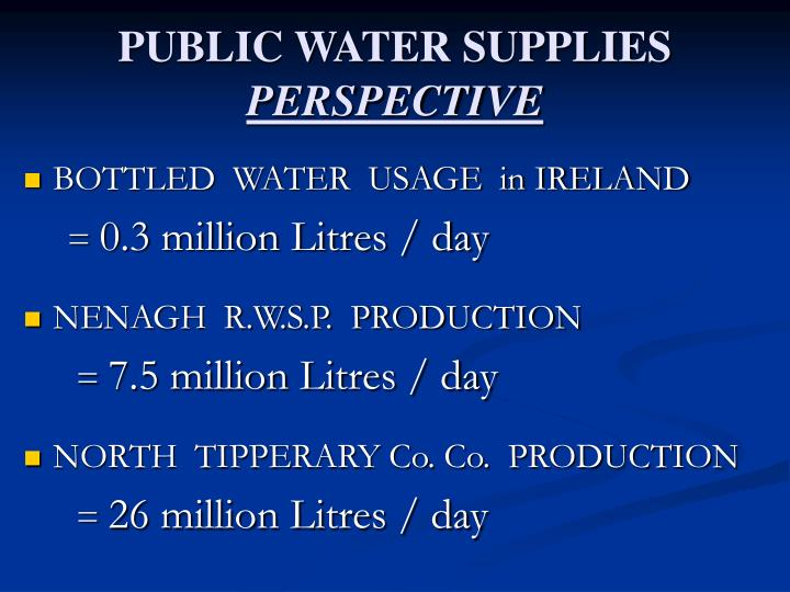 Public water supplies perspective
