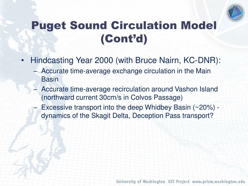 Puget Sound Circulation Model (Cont'd)
