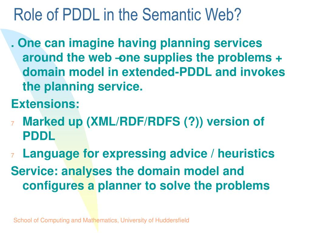 Role of PDDL in the Semantic Web?