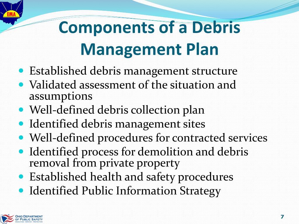 Components of a Debris Management Plan