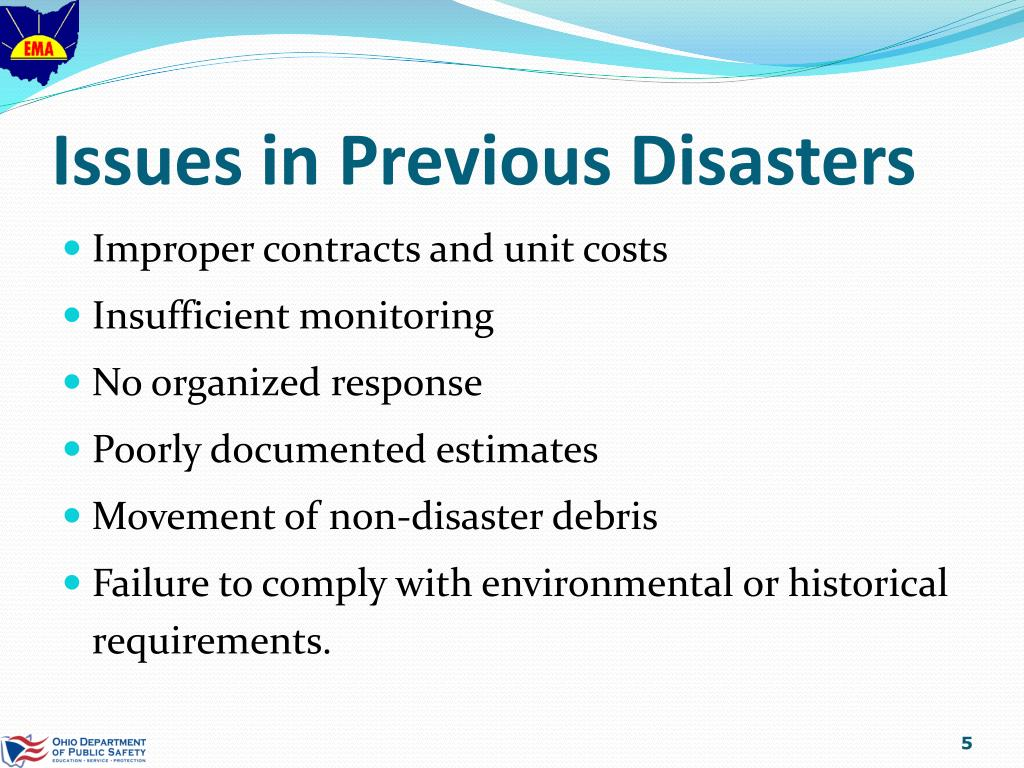 Issues in Previous Disasters