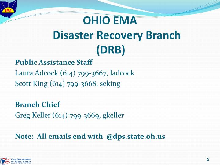 Ohio ema disaster recovery branch drb