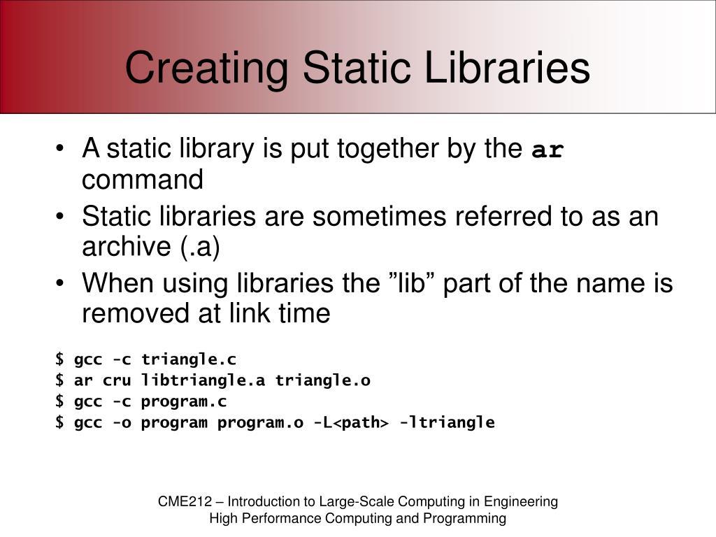 Creating Static Libraries