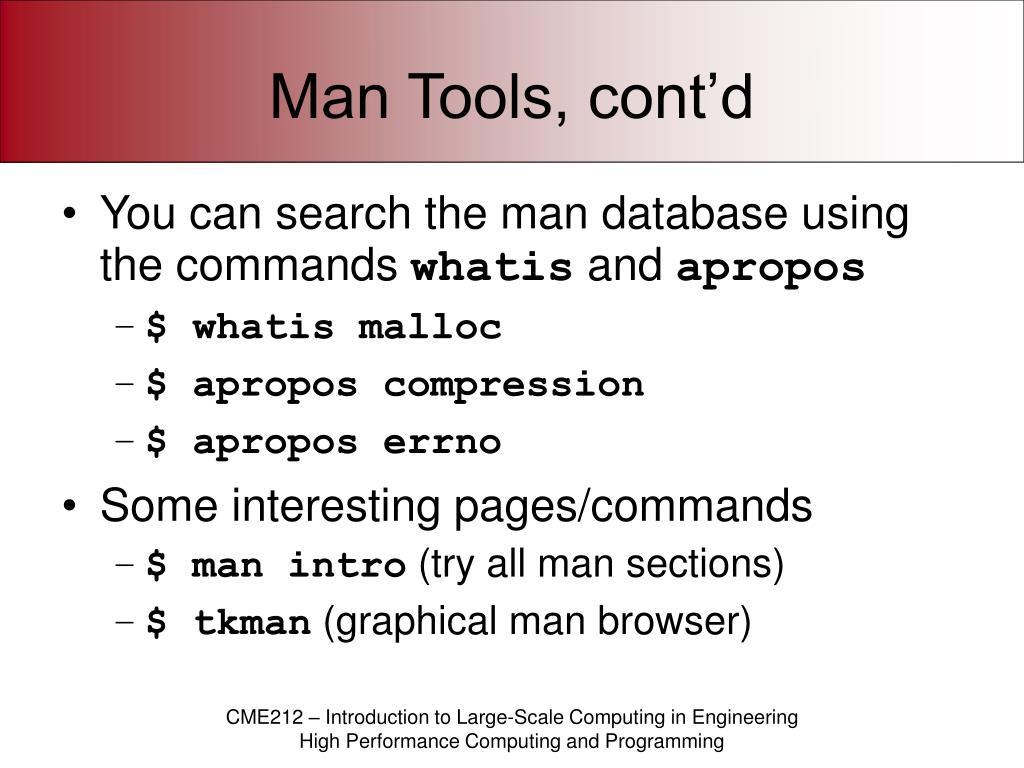 Man Tools, cont'd