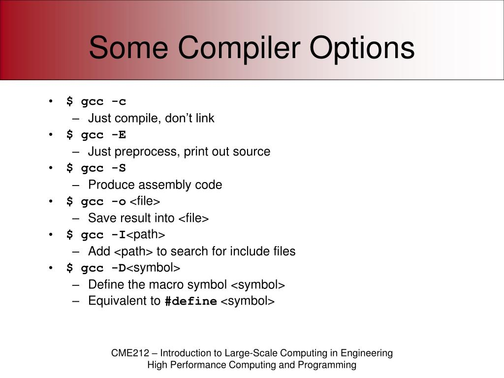 Some Compiler Options