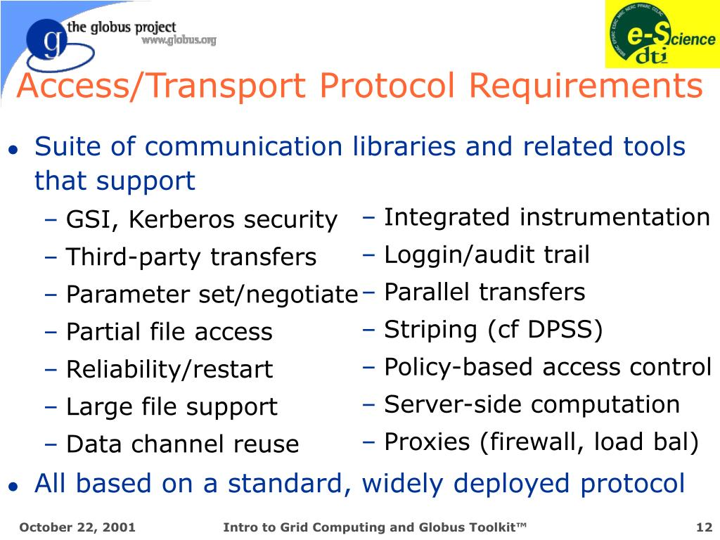 Access/Transport Protocol Requirements