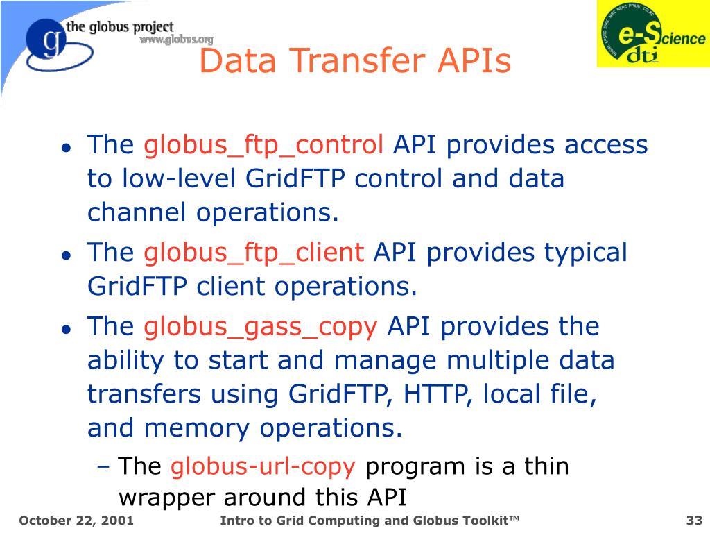 Data Transfer APIs